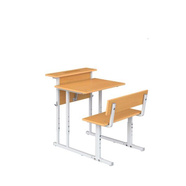 Парта ученическая 1-мест. с наклоном крышки и полкой со скамьей