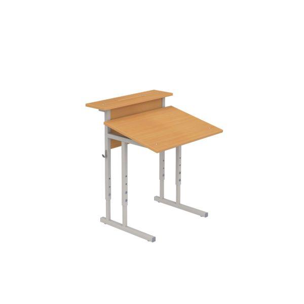 Стол ученический регулируемый с наклоном крышки и полкой одноместный