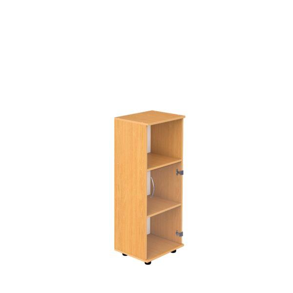 Шкаф 3-уровневый узкий полуоткрытый со стеклом